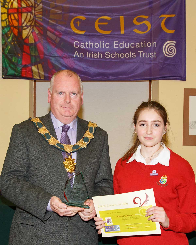 Lauren O'Sullivan Joint winner of Junior Certificate Student of the year 2015
