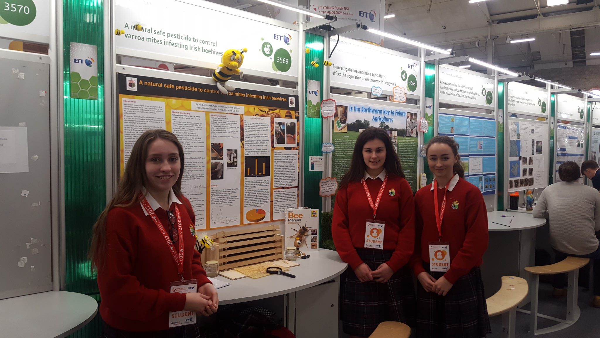 Group 1. Rachel Hodnett, Maeve O'Regan and Aoife Minihan Their project is an investigation into a natural safe pesticide to control the varroa mite infesting Irish beehives.