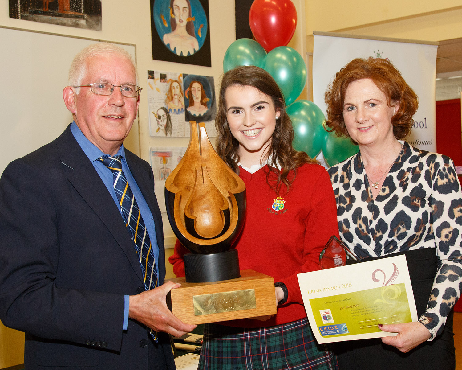 Recipient of the Transition Year An Duais award Eve Murphy pictured with Liam Nash and Ann Marie Brosnan