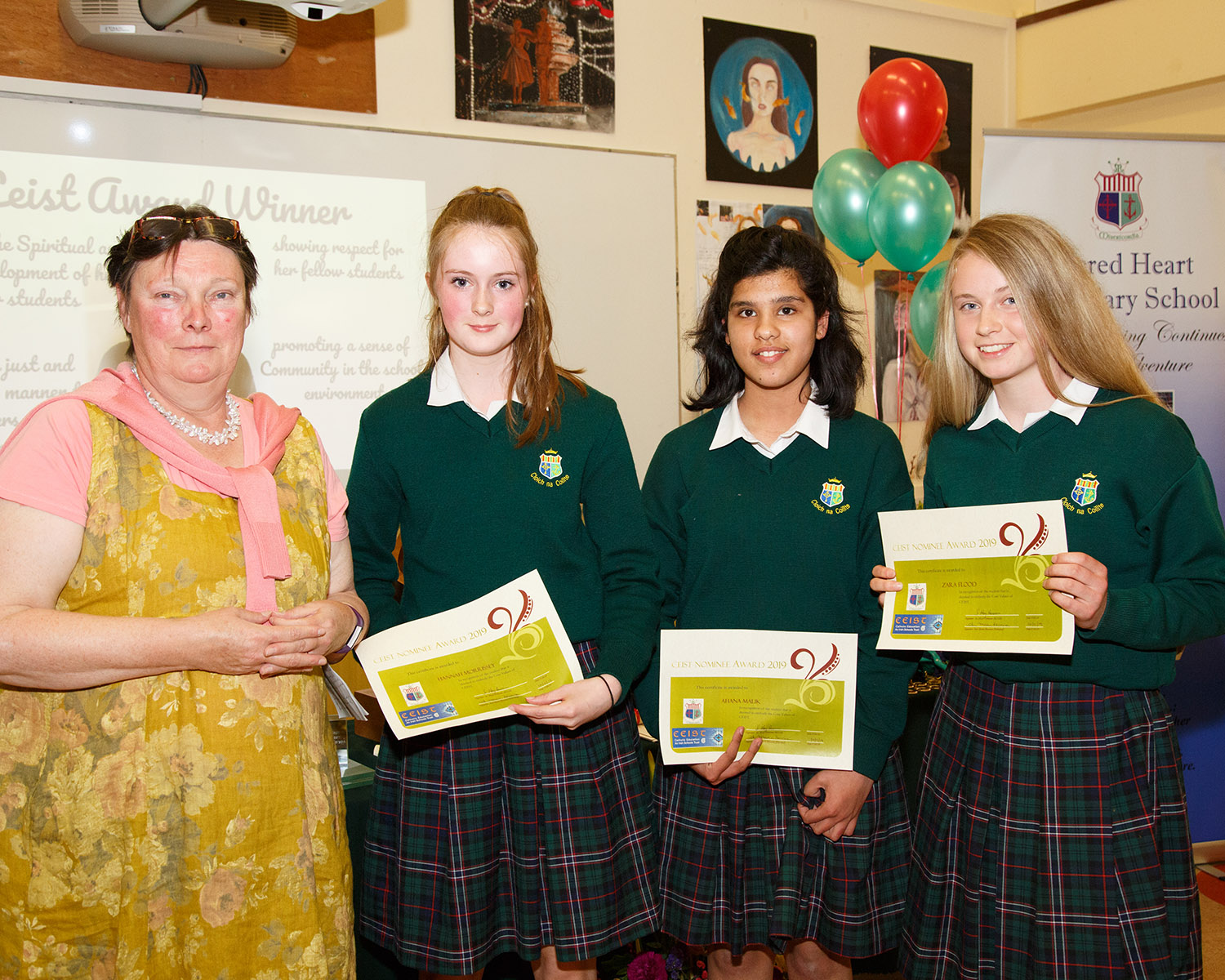 CESIT Awards Nominees: Hannah Morrisey, Ahana Malic and Zara Flood with Mrs O'Sullivan 2nd years, year head