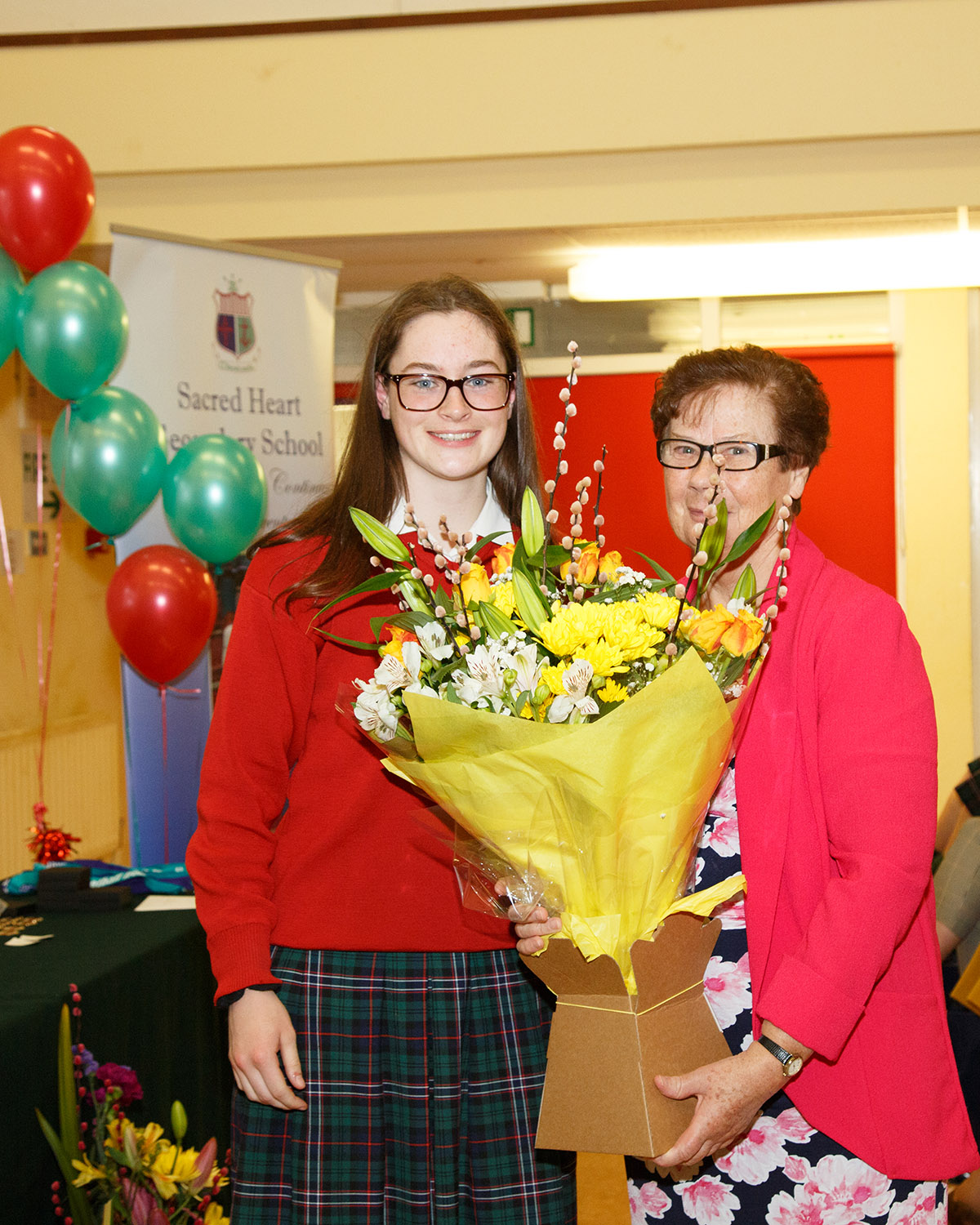Chairperson of the Student Council Meadhbh Coomey makes a presentation to Sr Mary