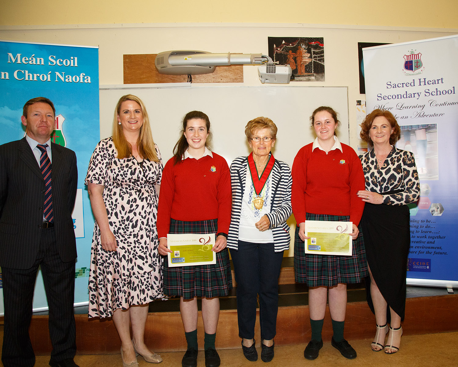 Gradam na Gaeilge: Kate Crowley and Katelynn Kelleher with Brendan Walsh, Leona Meade and Greta O'Donovan