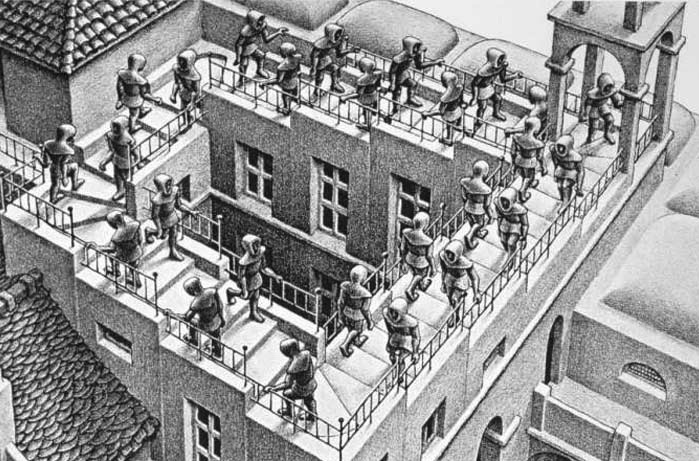 M.C. Escher: Ascending or Descending?