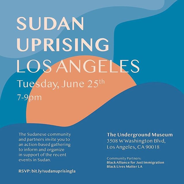 I had the honor of creating this graphic for  @nadra.w 's event in LA this Tuesday. If you're in LA please show up and support this event. Information below: ⠀⠀⠀⠀⠀⠀⠀⠀⠀ LA! Join us on Tuesday at @theundergroundmuseum as we discuss, strategize and take action against the current conditions in Sudan. Special thanks to @blmlosangeles and @instabaji for partnering with us for this. RSVP in bio, so we know how many to accommodate for. Friends, family and community, see you there ❤️