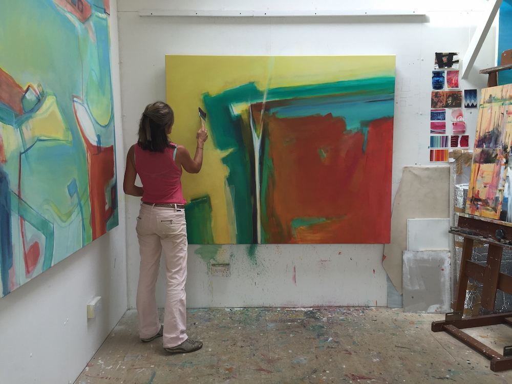 Trudy in her studio with 'Hope'