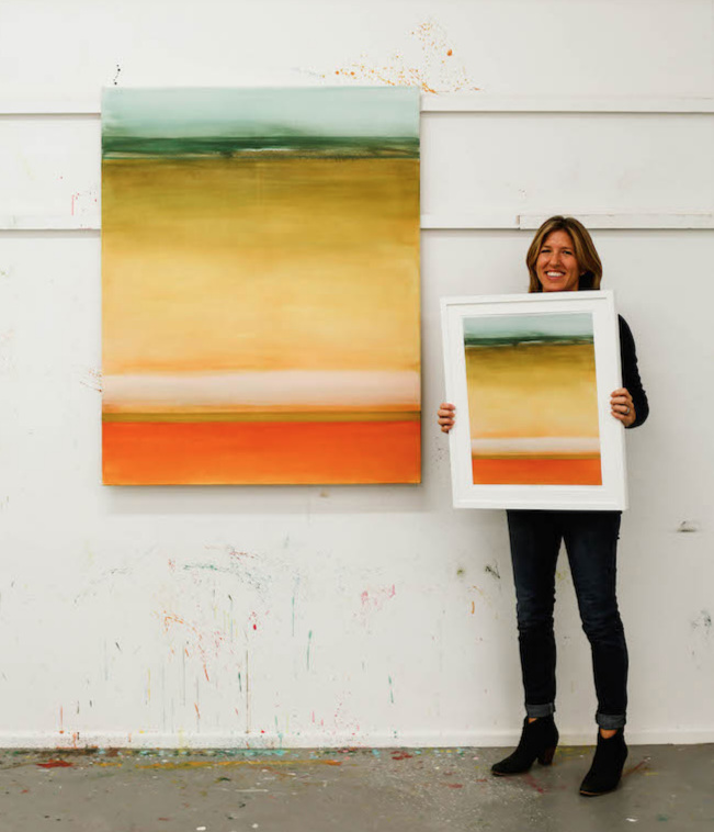 Trudy in the studio with the original painting and limited edition print of  Meditation III