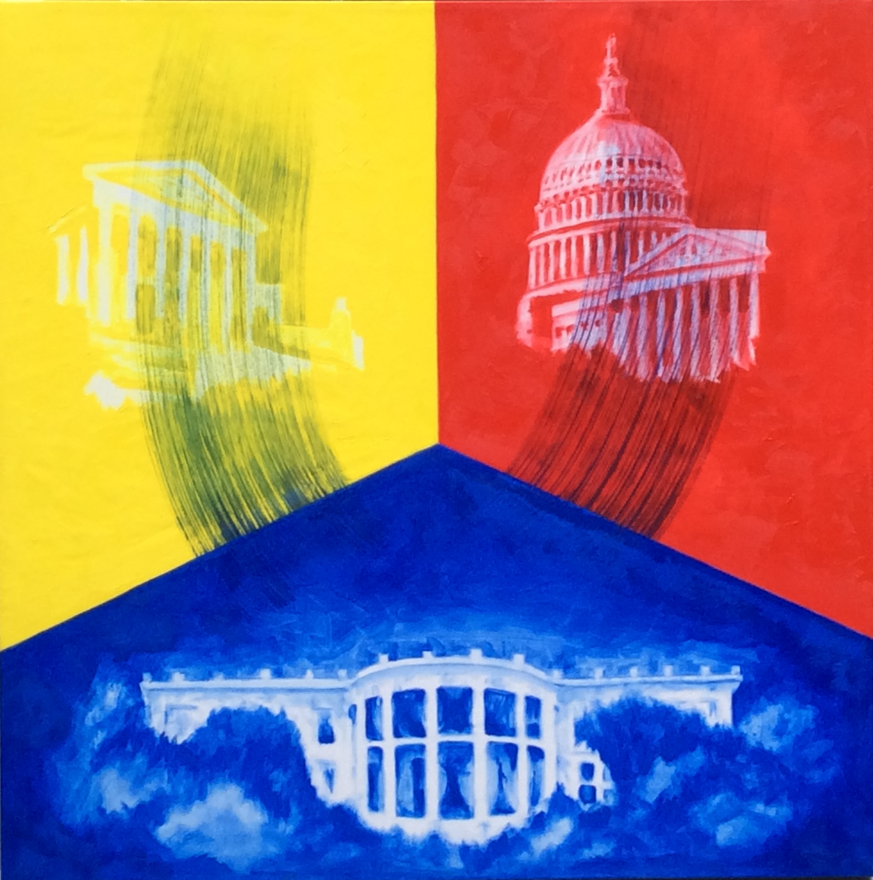 Who's Afraid of Red, Yellow, and Blue: The Separation of Powers?   Oil 30 x 30