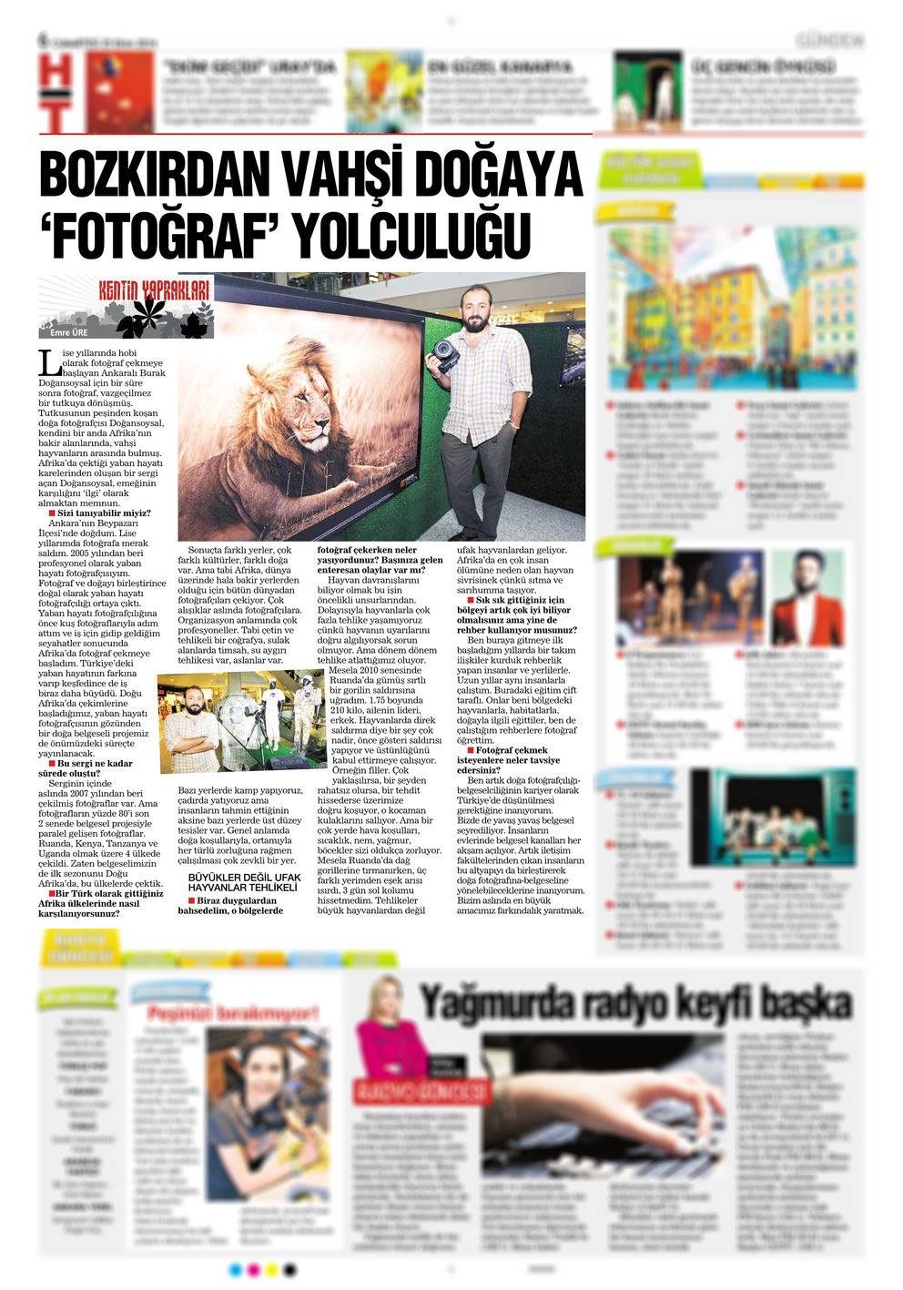 "Haberturk Newspaper   October 14th, 2014 | Page 6   ""Interview about wildlife photography & film making"""