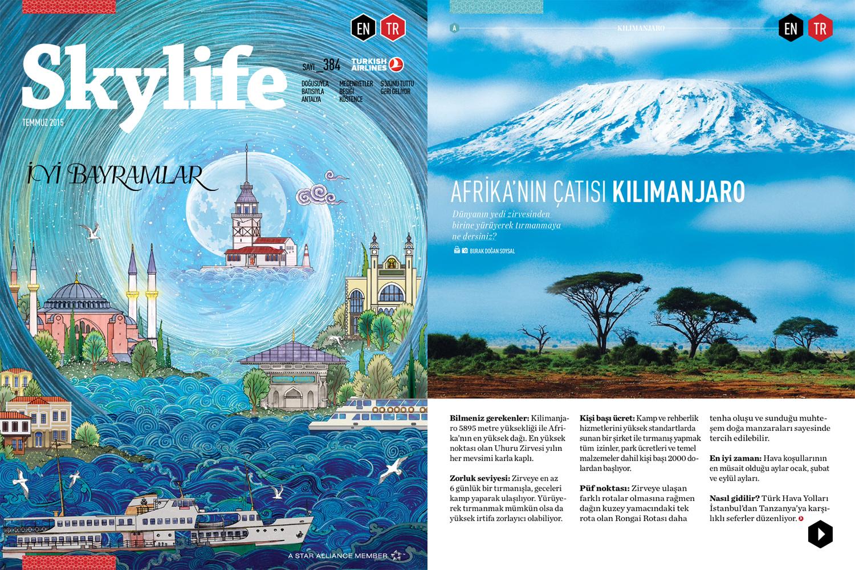 """Skylife Magazine Issue #384  [Turkish Airlines Inflight Magazine]  July 2015   """"Roof of Africa Kilimanjaro"""" Words & Photo by Burak Dogansoysal"""