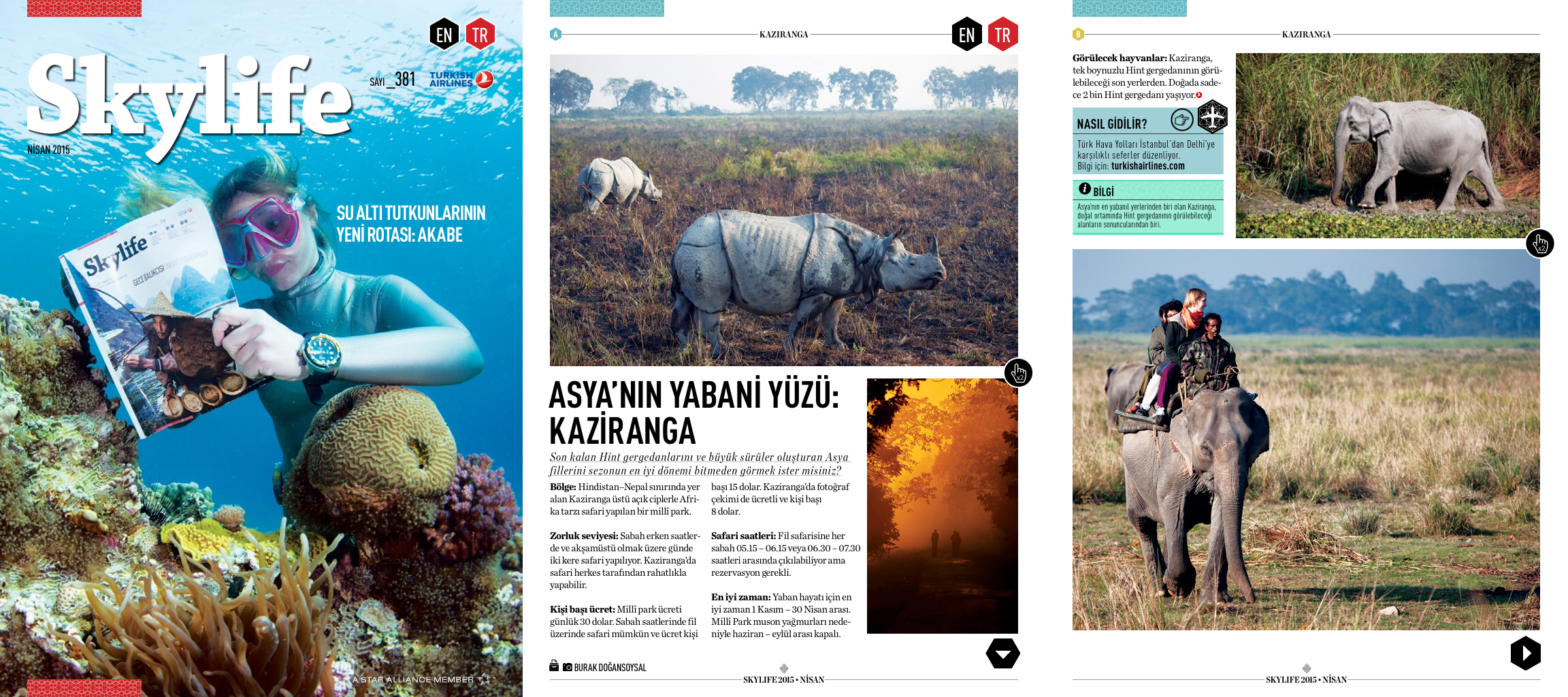 """Skylife Magazine Issue #381  [Turkish Airlines Inflight Magazine]  April 2015   """"Wild side of Asia: Kaziranga"""" Words & Photo by Burak Dogansoysal"""