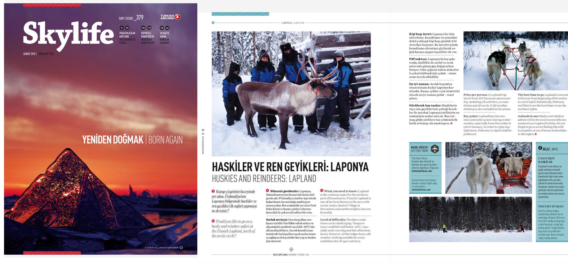 "Skylife Magazine Issue #379  [Turkish Airlines Inflight Magazine]  February 2015   ""Huskies & Reindeers: Lapland"" Words & Photo by Burak Dogansoysal"