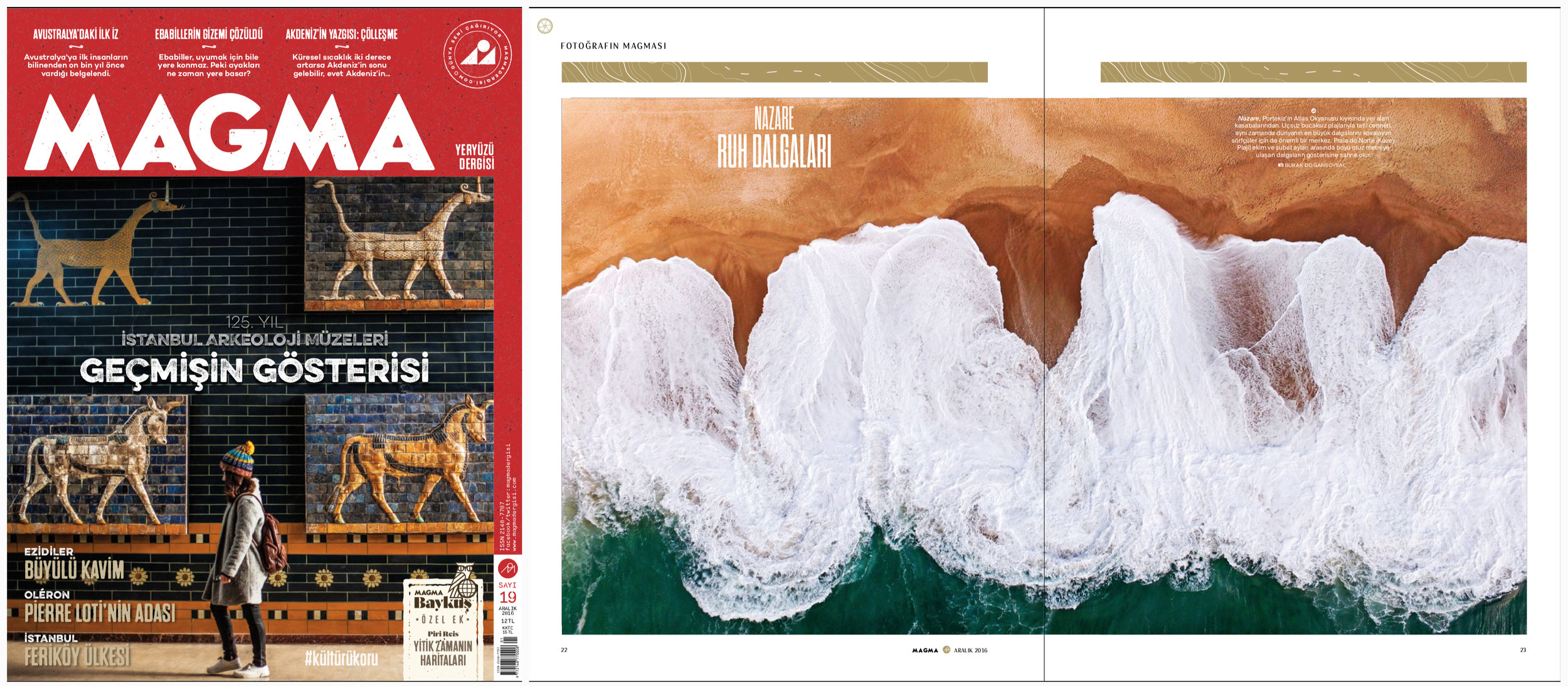 "MAGMA Magazine Issue #19   December 2016 | Pages 22-23   ""Nazare's Soul Waves"" Words & Photos by Burak Dogansoysal"