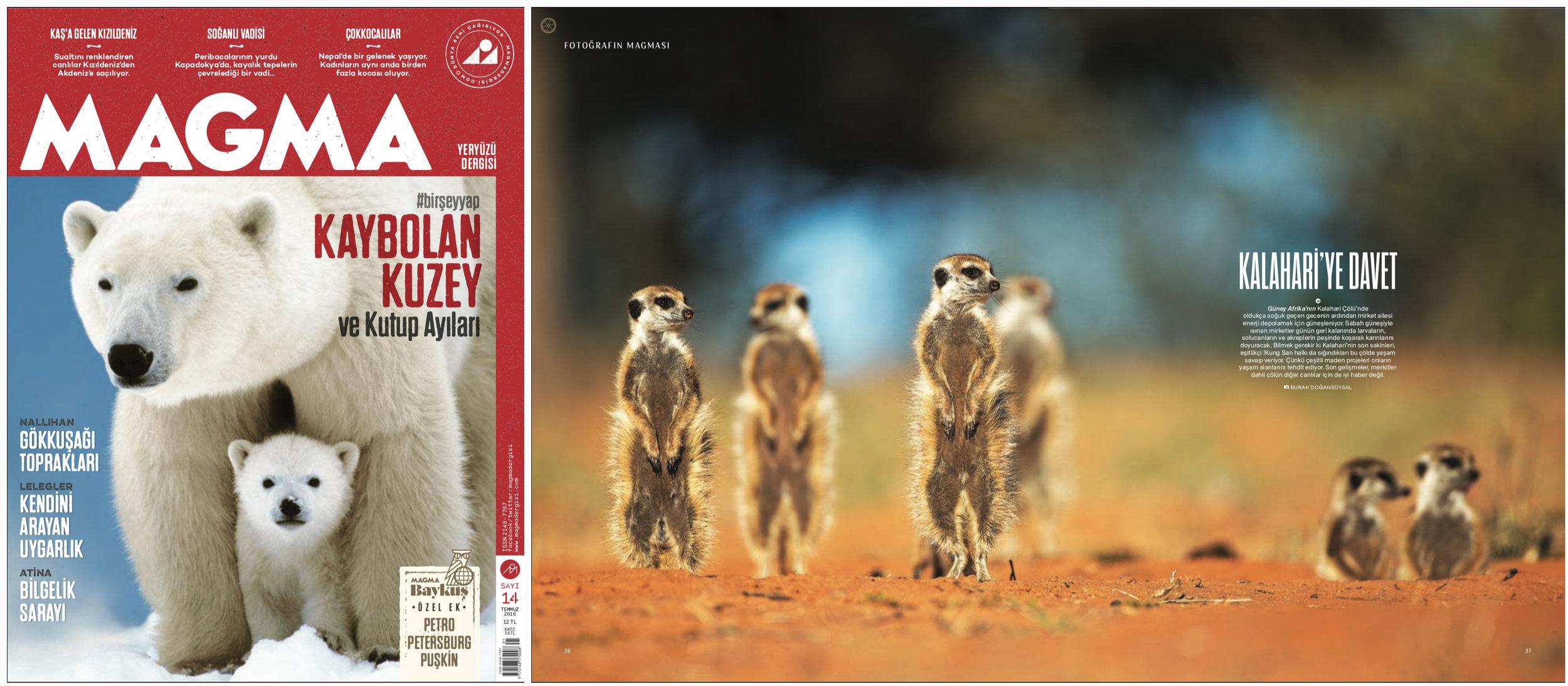 "MAGMA Magazine Issue #14   July 2016 | Page 26-27   ""Invitation to Kalahari"" Words and photo by Burak Dogansoysal"