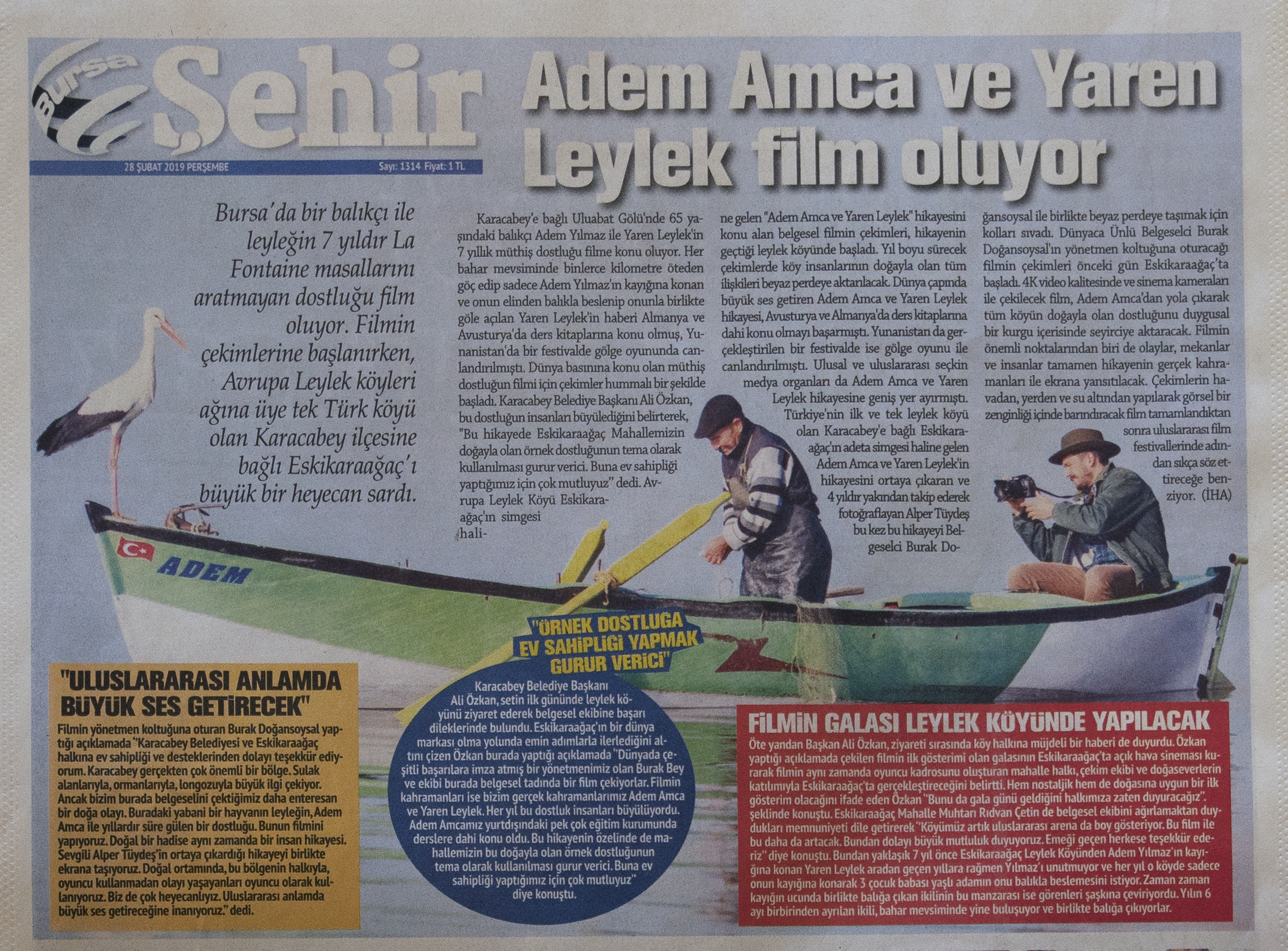 "Bursa Sehir Newspaper   February 28th, 2019   News article about my latest documentary ""YAREN"""