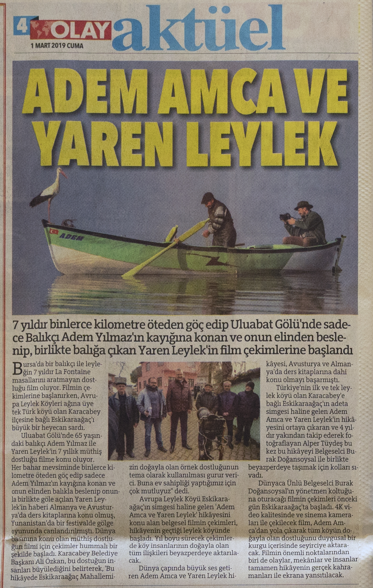 "Olay Newspaper   March 1st, 2019   News article about my latest documentary ""YAREN"""