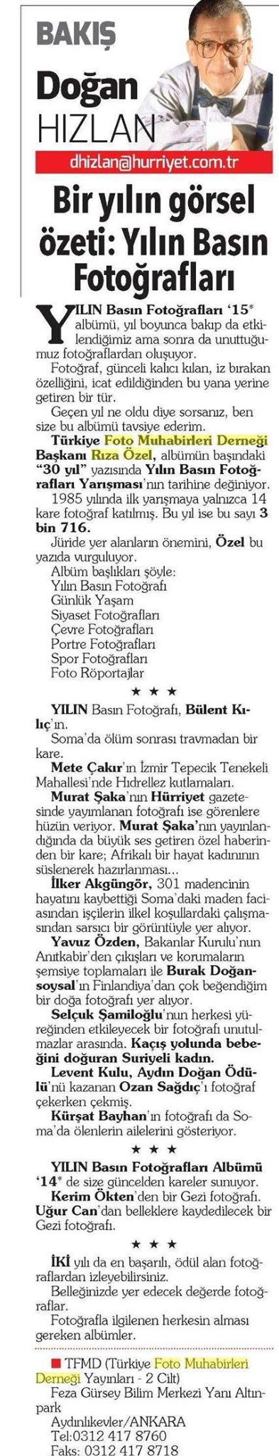 "Hürriyet Newspaper   November 3rd, 2015 | Dogan Hizlan, columnist   About my award winning ""Bear in the Mist"" photo"