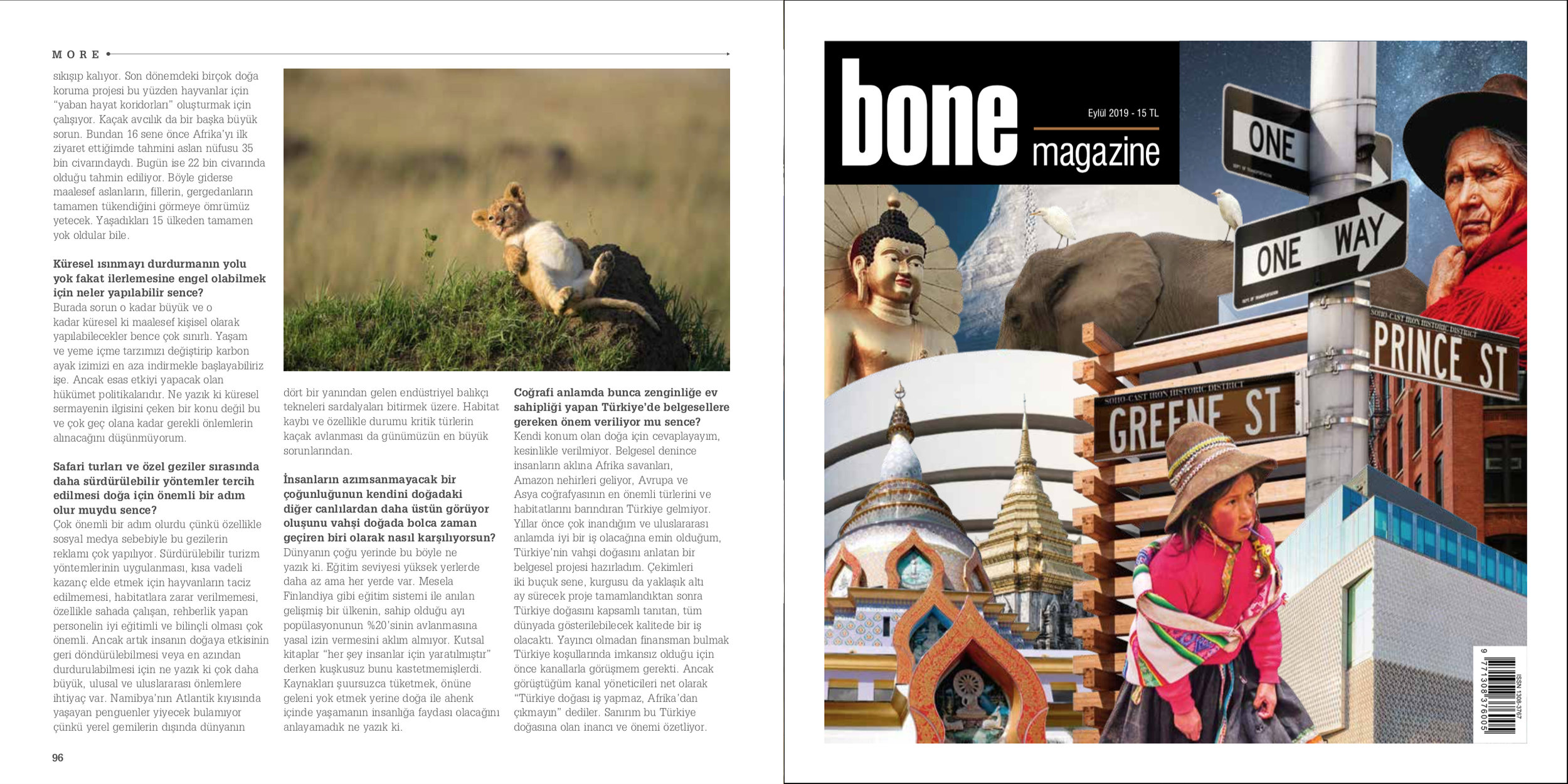 Bone Magazine   September 2019 | Page 94 - 95 - 96   Interview about wildlife filmmaking, nature & climate change