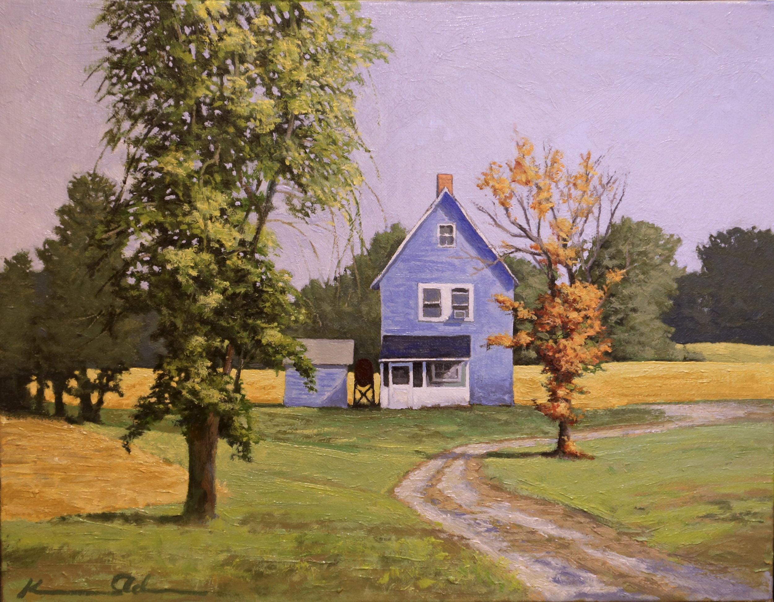 Blue Farm House  14 X18 oil on linen.jpg