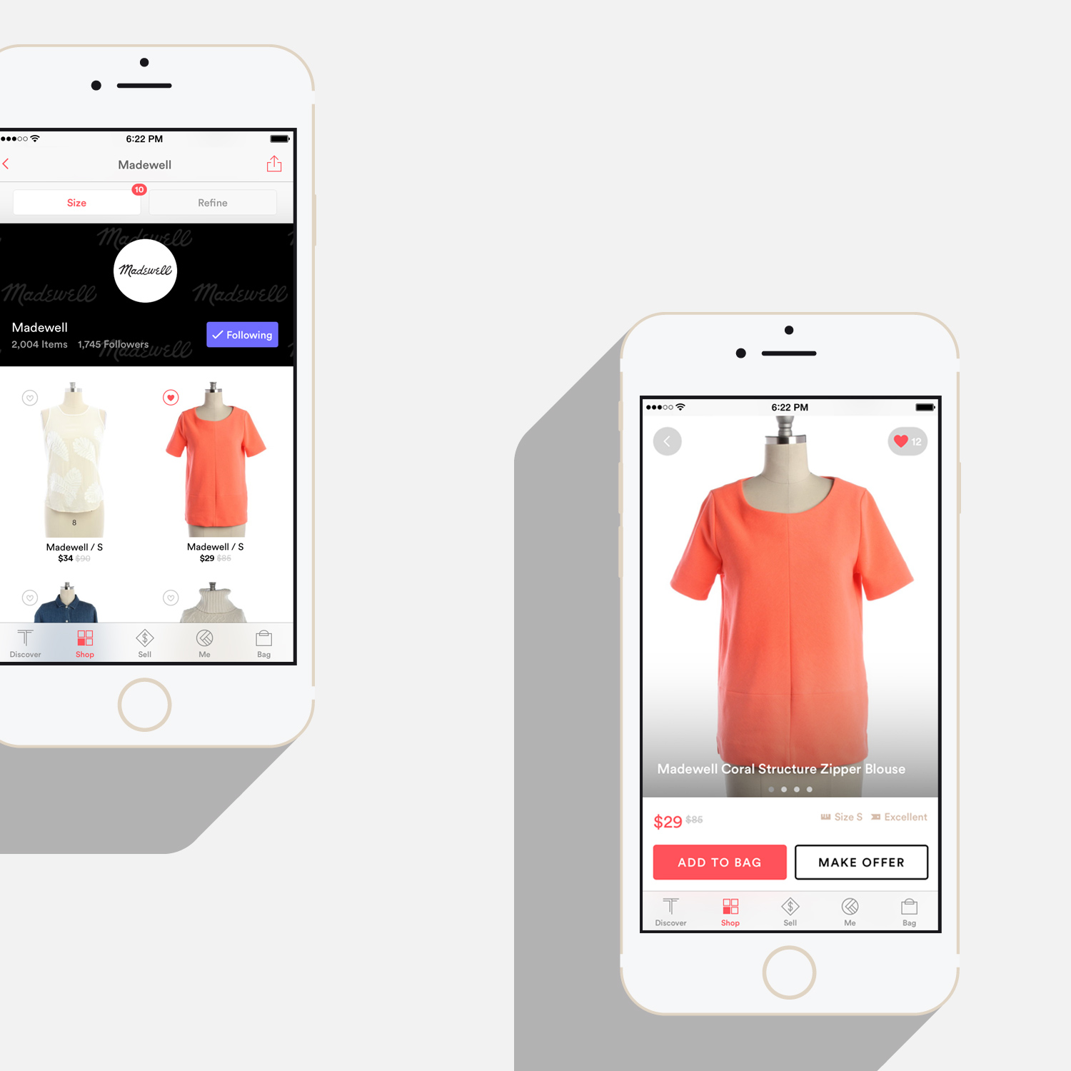 iOS app brand page and item page
