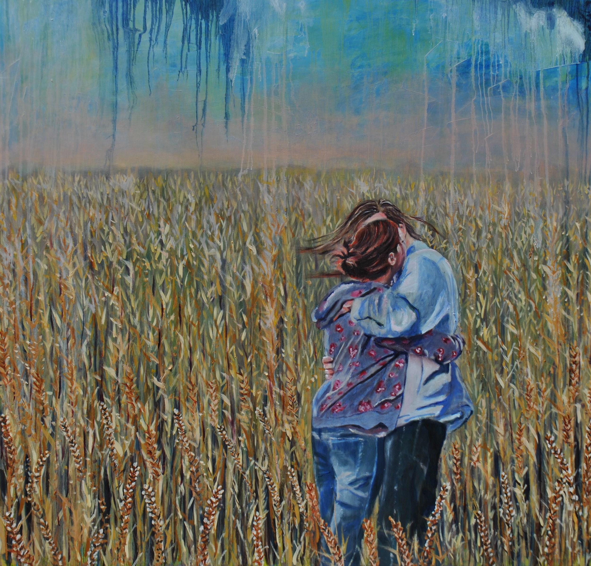In The Wheat Fields 48x48 Oil On Wood Private Collection