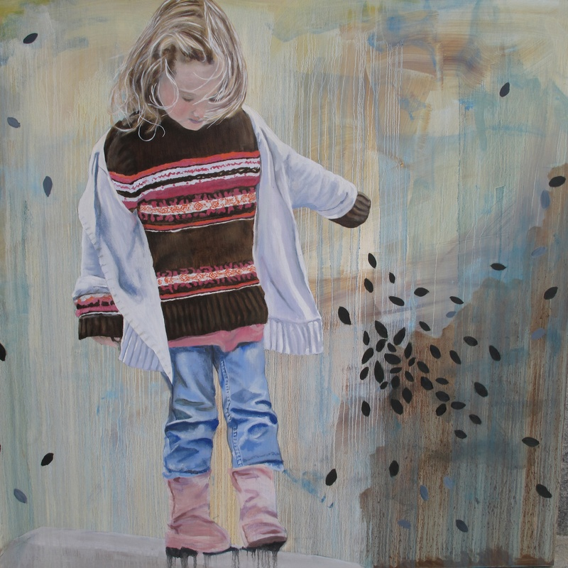 Precarious Childhood 48x48 Oil on Wood Available