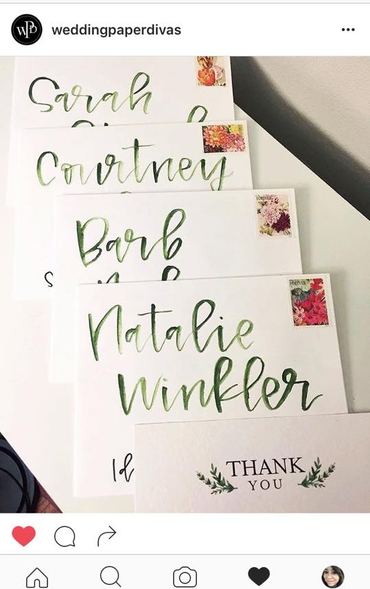 A Wedding Paper Divas IG repost of my watercolor envelopes for my bridal shower thank you notes this summer!