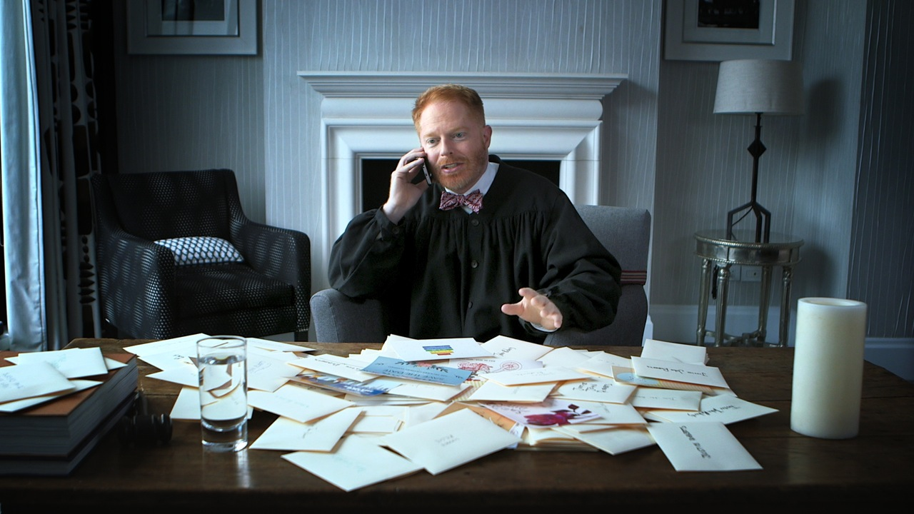 "Jesse Tyler Ferguson is U.S. Chief Justice Roberts for the ""Supreme Save The Date"" campaign in support of marriage equality."