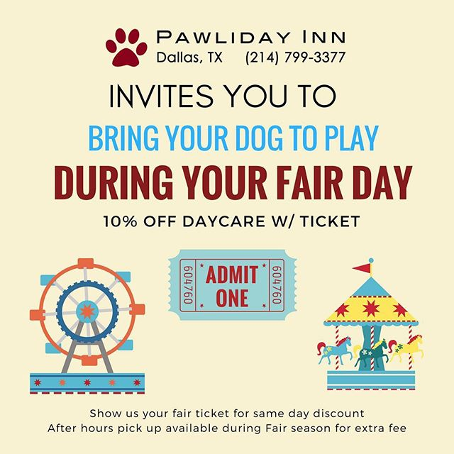 Bring your pups to play while you attend the State Fair! 10% discount w/ same day fair ticket