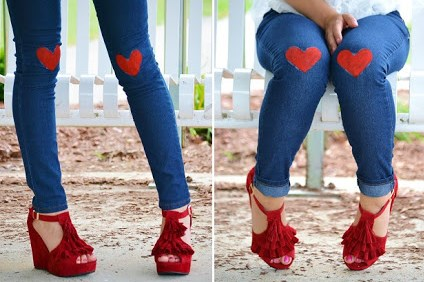 Diy Heart Knee Jeans