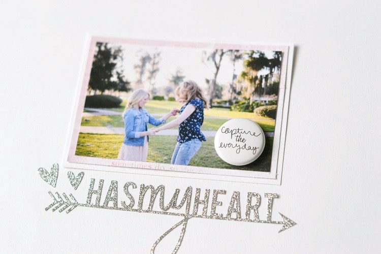 Has My Heart Minimalist Scrapbook Layout