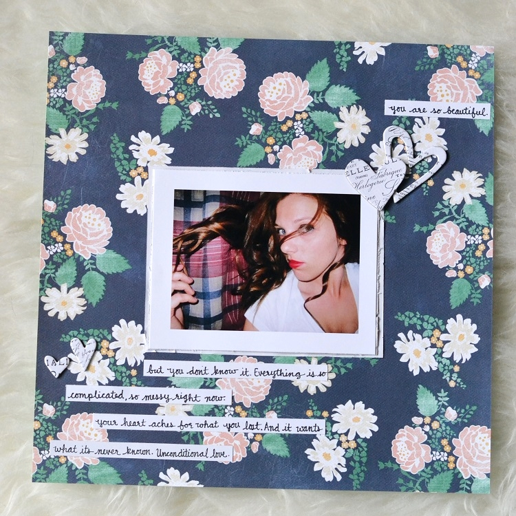 Traditional Scrapbook Layout Carta Bella Floral Paper