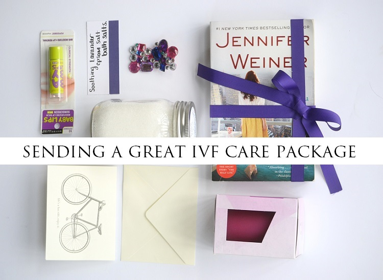 Sending a Great IVF Care Package - Having a friend whose going through IVF can be tough. Usually, they are experiencing things that leave them feeling defeated, emotional and upset. And sometimes we don't know how to best comfort them like we want to. Here's an awesome idea...