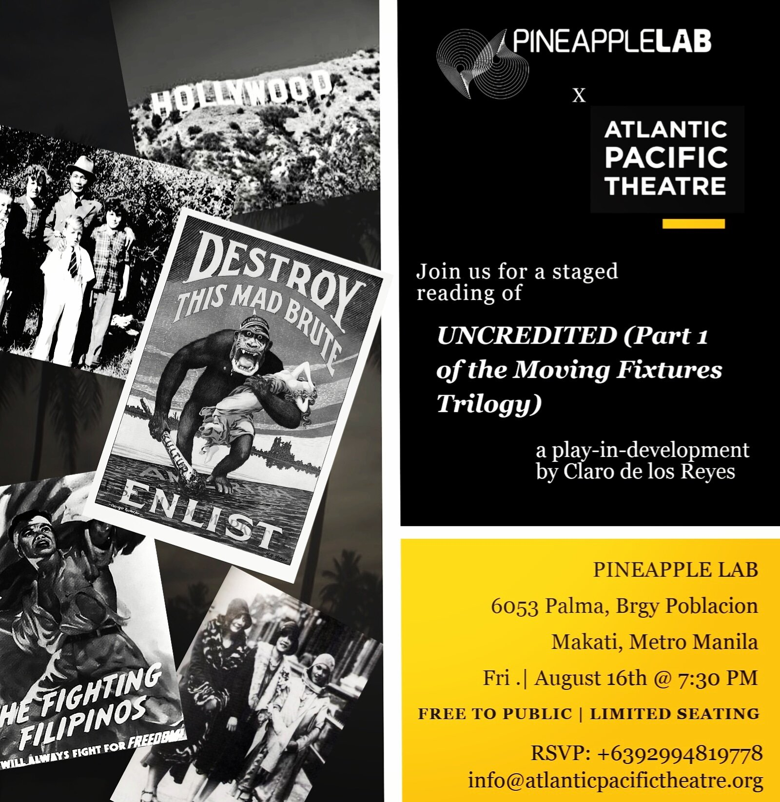 "Join us to watch a cast of actors perform a public staged reading of ""UNCREDITED (Part 1 of the Moving Fixtures Trilogy)"" a play-in-development by Claro de los Reyes.  ""UNCREDITED"" follows Ernesto and Manuel, two Filipino migrants in America, navigating divergent paths through the Filipino x American history during the decades surrounding the Great Depression, World War II, and post civil rights era United States.   CAST: Stacy Abarca, Laura Cabochan, Daniel Darwin, Claro de los Reyes, Meann Espinosa, Topper Fabregas"