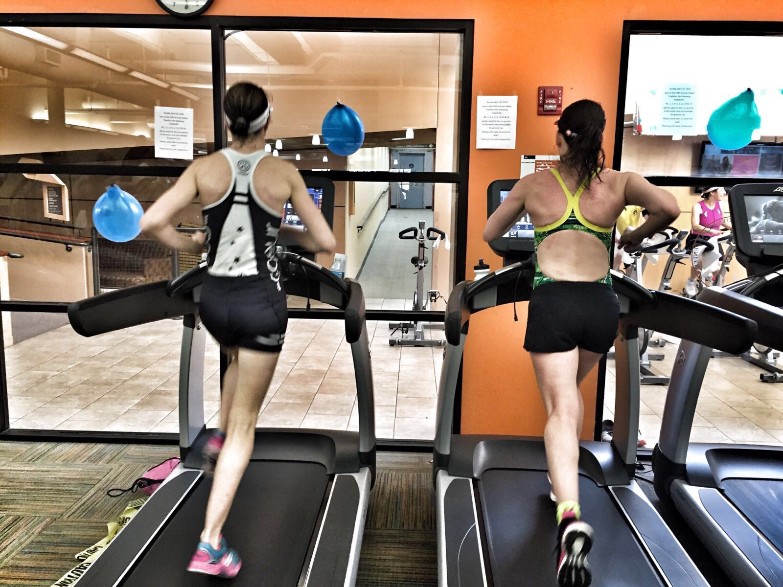 Sister Duel on the Treadmill. Loving my Sugoi shorts/bathing suit combo!