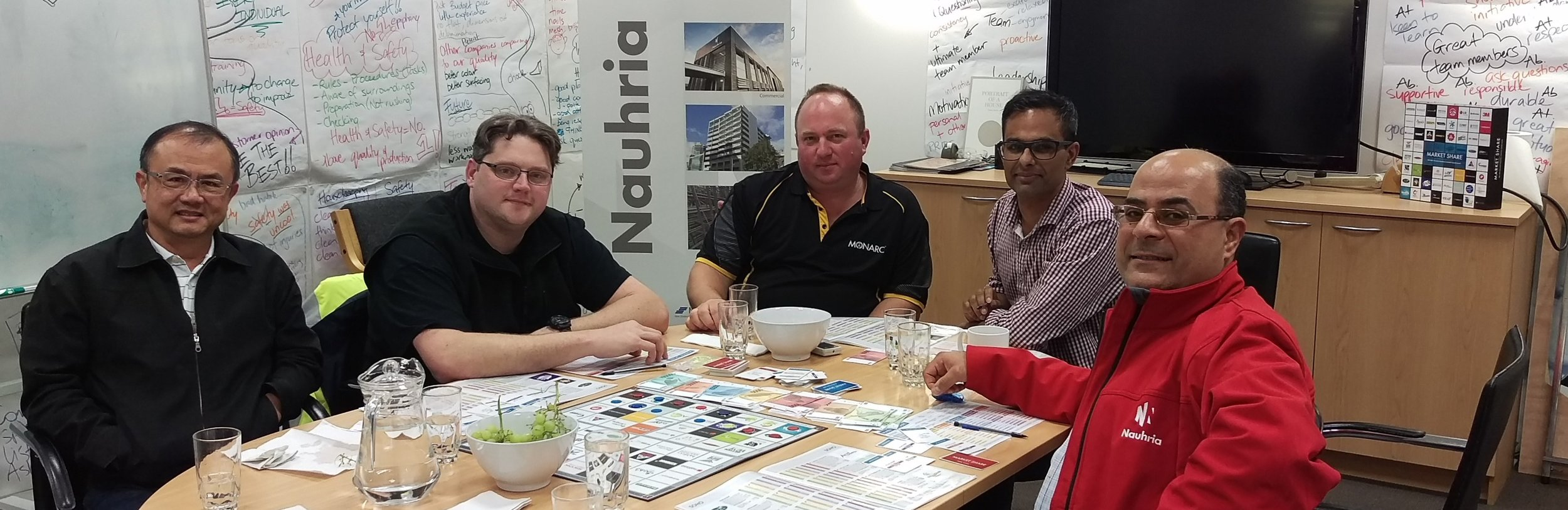 NAUHRIA PRECAST - Management team meet around a game of Market Share - www.nauhria.co.nz