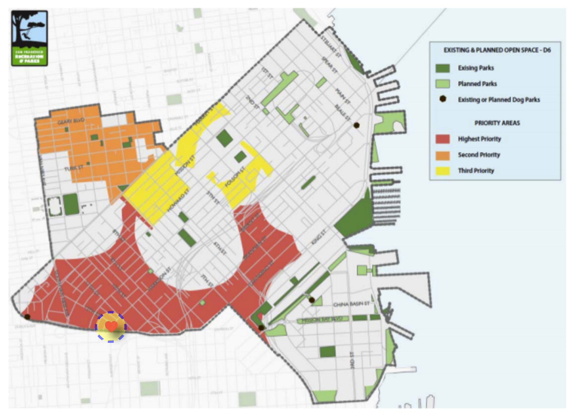 Western SoMa classified as the area of highest priority for new open spaces in District 6