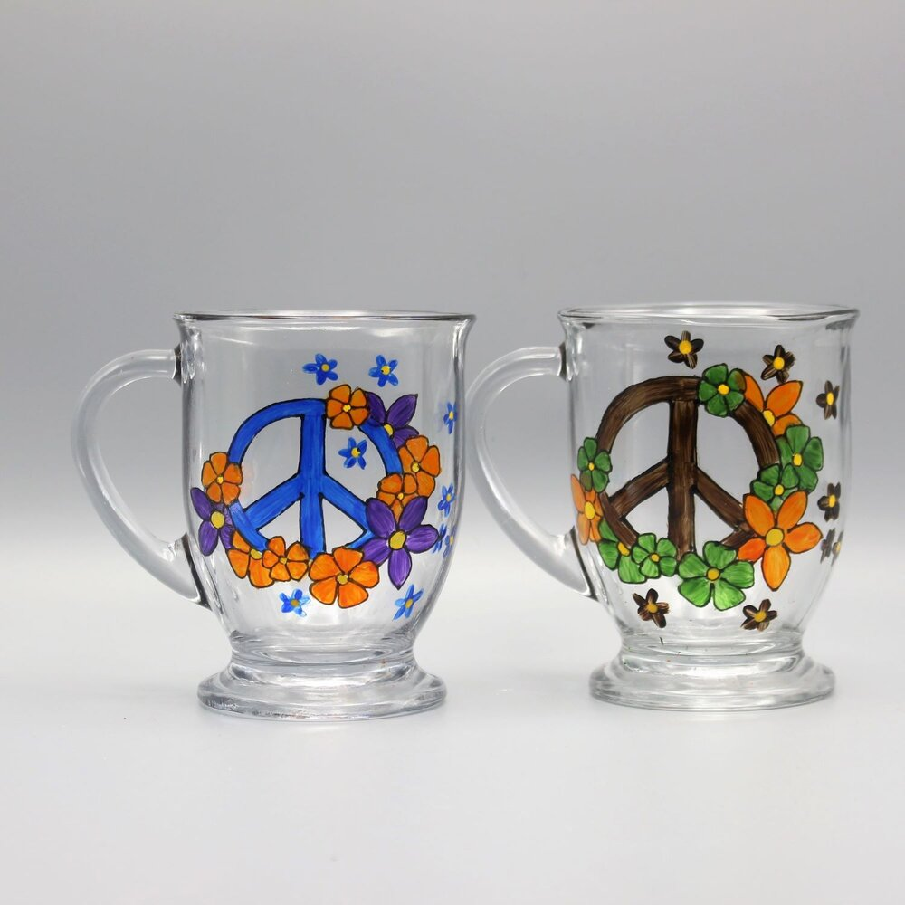 Peace Sign Coffee Mugs Blue Brown Set Of Two Hand Painted Personalized Gifts