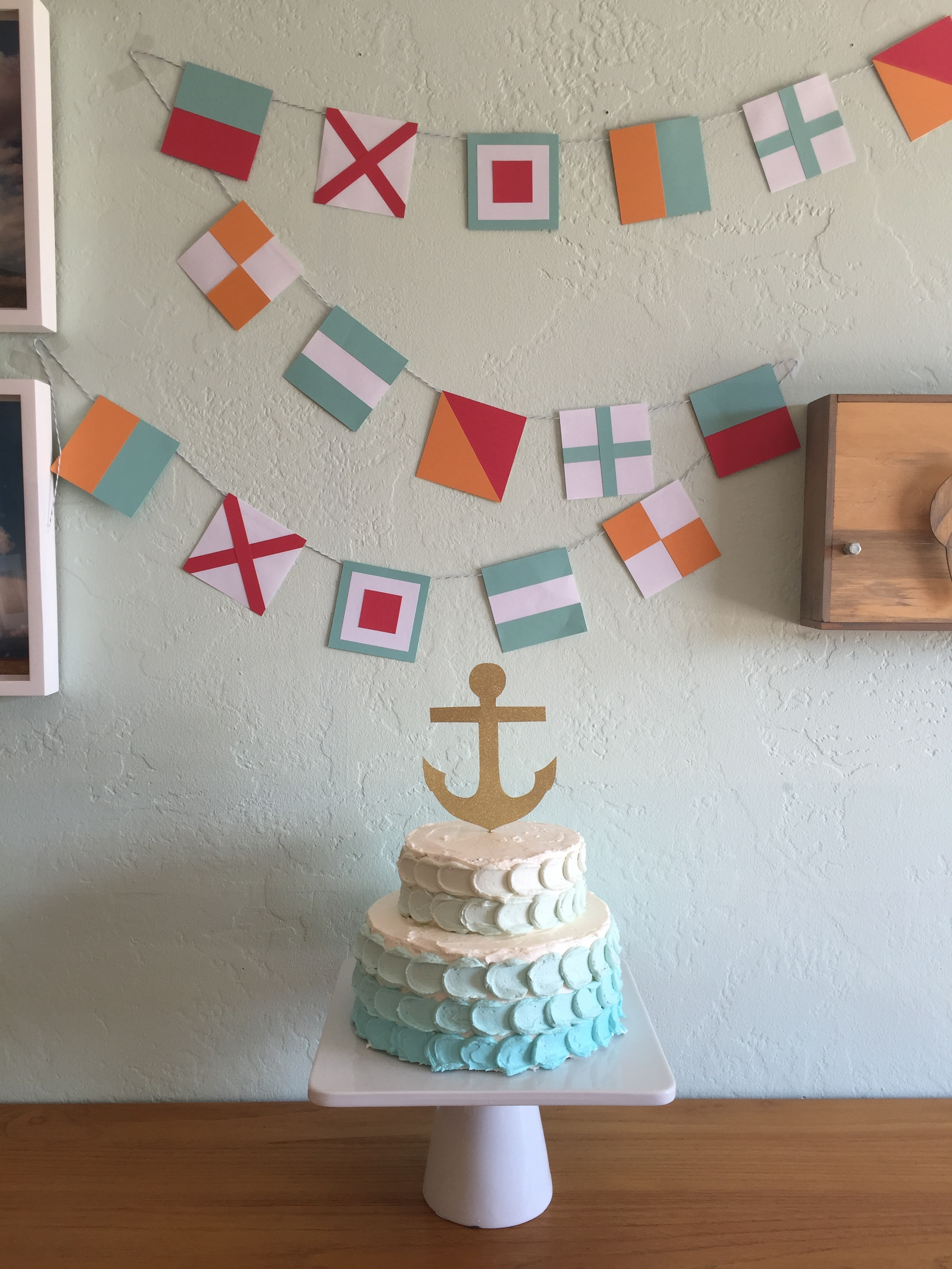 Ombre cake + Nautical banner
