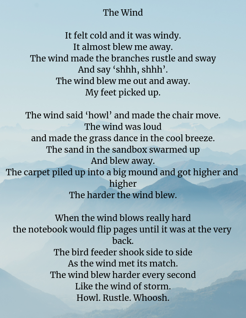 It felt cold and it was windy. It almost blew me away. The wind made the branches rustle and sway And say 'shhh, shhh'. The wind blew me out and away. My feet picked up. The wind said 'howl' and made the chair mov.png