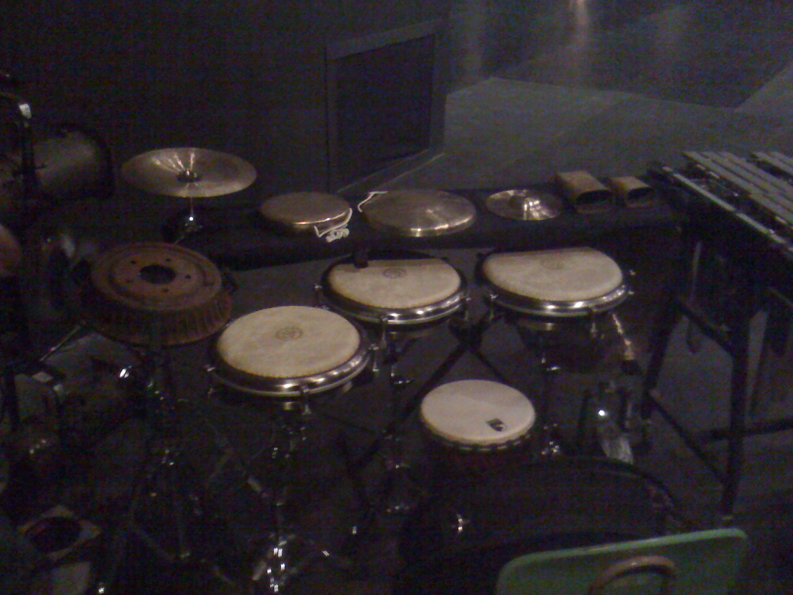 Part of the percussion rig for Moraine(Sky), music for choreographer Peter Kyle @ KSU