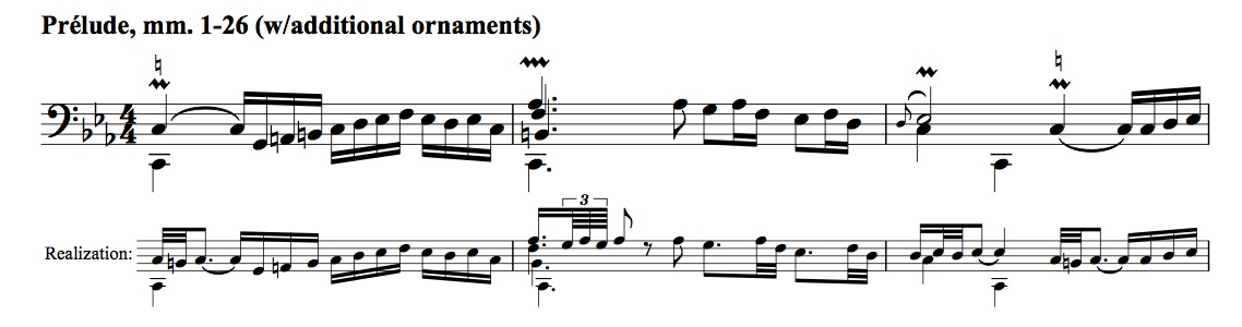 Sample passage from BWV 1011, showing options for realizing ornaments