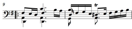 BWV 1007, Sarabande, mm. 9-10