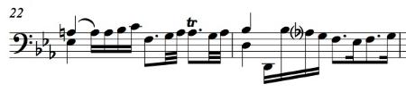BWV 1011, Allemande mm. 22-23