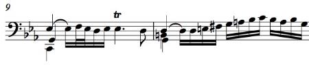 BWV 1011, Prelude mm. 9-10