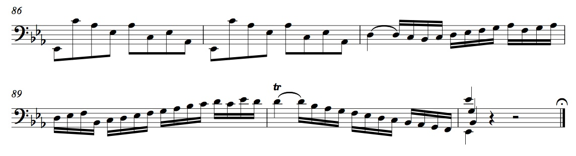 BWV 1010, Prelude m. 86-end(click to enlarge)