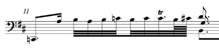 BWV 1012, Allemande m. 11 (first half)