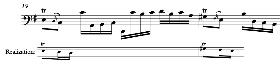 BWV 1007, Allemande mm. 19-20, showing realization of appoggiaturas