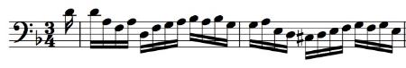BWV 1008, Corrente mm. 1-2 with freeonamentation added