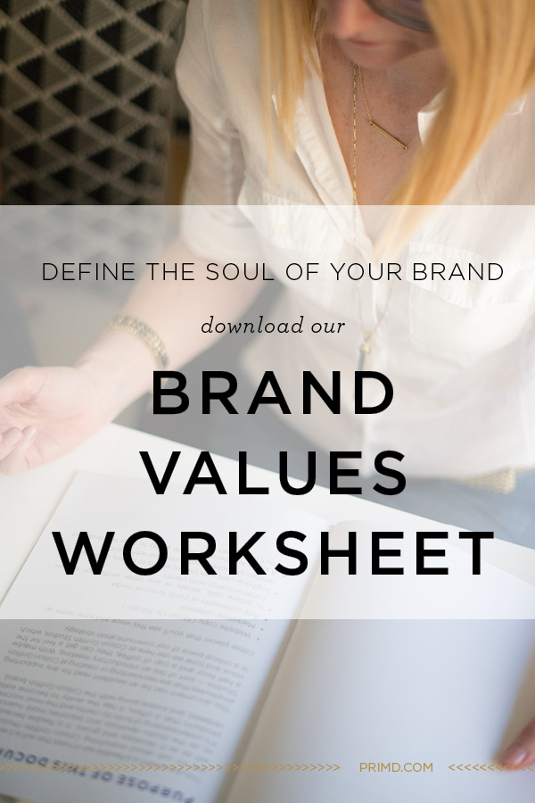 Prim'd Marketing - Brand Values worksheet