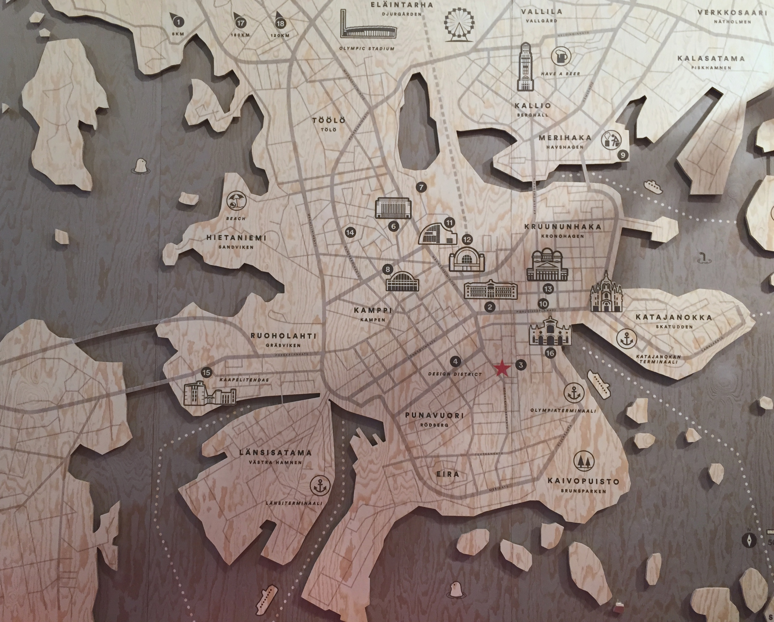 Helsinki map - in wood! - at the Design Museo / 10 July 2015